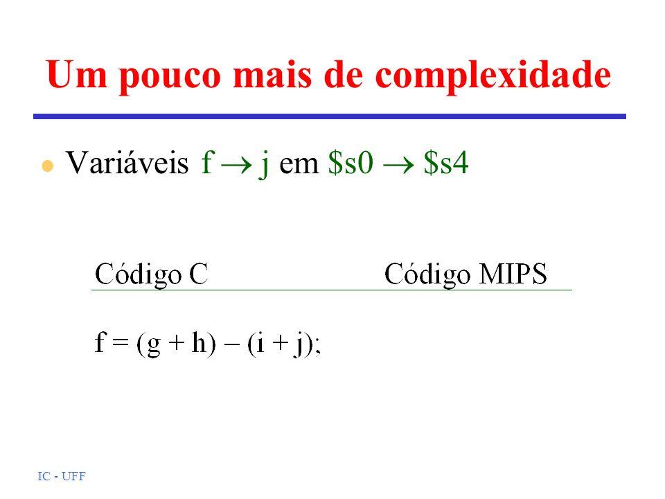 IC - UFF Loop e índice variável l A é um array de 100 posições; g, h, i e j estão em $s1, $s2, $s3 e $s4; endereço de base de A está em $s5.
