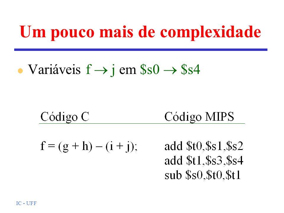IC - UFF Um operando em memória l A é um array de 100 posições; g e h estão em $s1 e $s2; endereço de base de A está em $s3