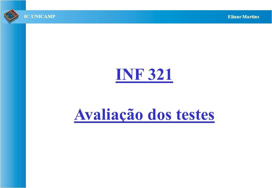 QST112 06/2001 IC-UNICAMP Eliane Martins Avaliação dos testes Serve para estabelecer: –Critério de término dos testes –Avaliação da qualidade dos testes –Melhorias do processo