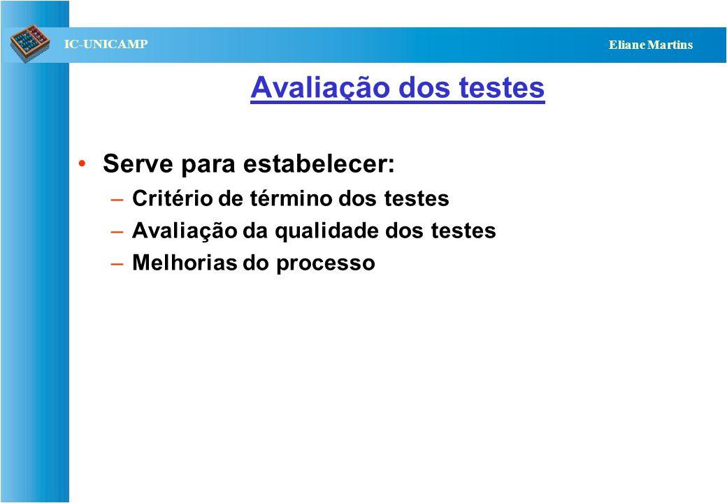 QST112 06/2001 IC-UNICAMP Eliane Martins Avaliação dos testes Serve para estabelecer: –Critério de término dos testes –Avaliação da qualidade dos test