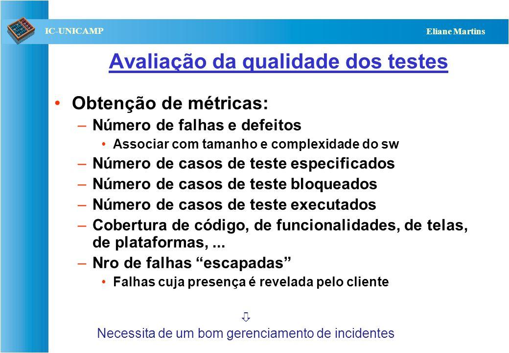 QST112 06/2001 IC-UNICAMP Eliane Martins Avaliação da qualidade dos testes Obtenção de métricas: –Número de falhas e defeitos Associar com tamanho e c