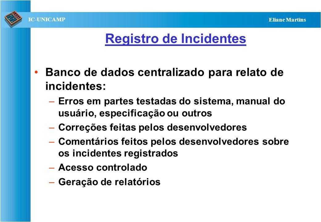 QST112 06/2001 IC-UNICAMP Eliane Martins Registro de Incidentes Banco de dados centralizado para relato de incidentes: –Erros em partes testadas do si