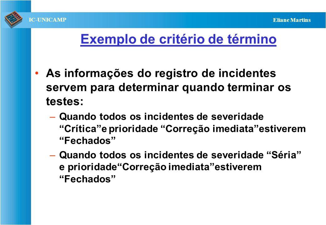 QST112 06/2001 IC-UNICAMP Eliane Martins Exemplo de critério de término As informações do registro de incidentes servem para determinar quando termina