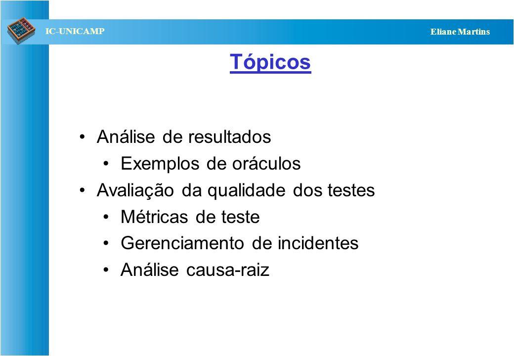 QST112 06/2001 IC-UNICAMP Eliane Martins Tópicos Análise de resultados Exemplos de oráculos Avaliação da qualidade dos testes Métricas de teste Gerenc