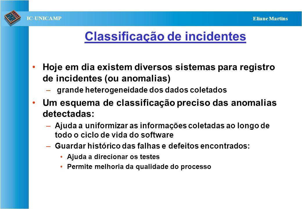 QST112 06/2001 IC-UNICAMP Eliane Martins Classificação de incidentes Hoje em dia existem diversos sistemas para registro de incidentes (ou anomalias)