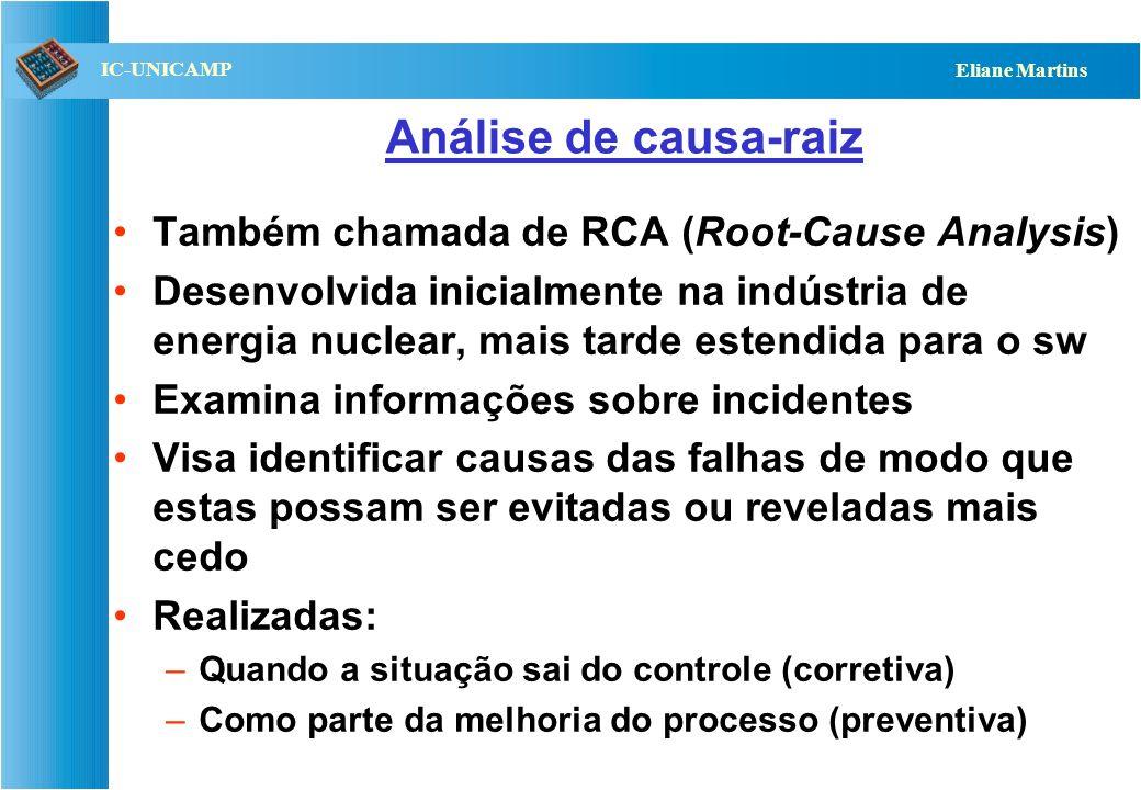 QST112 06/2001 IC-UNICAMP Eliane Martins Análise de causa-raiz Também chamada de RCA (Root-Cause Analysis) Desenvolvida inicialmente na indústria de e