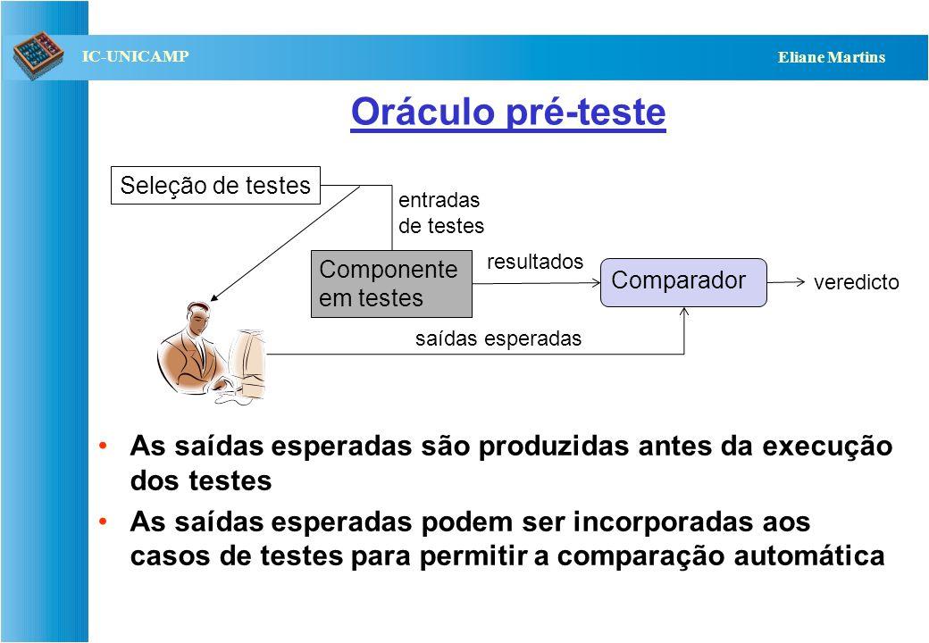 QST112 06/2001 IC-UNICAMP Eliane Martins Oráculo pré-teste: geração das saídas Manual Automática: –Simulação –Uso de assertivas embutidas no código do software em teste do caso de teste –Uso de um algoritmo que produza os valores esperados para cada entrada –Uso da especificação