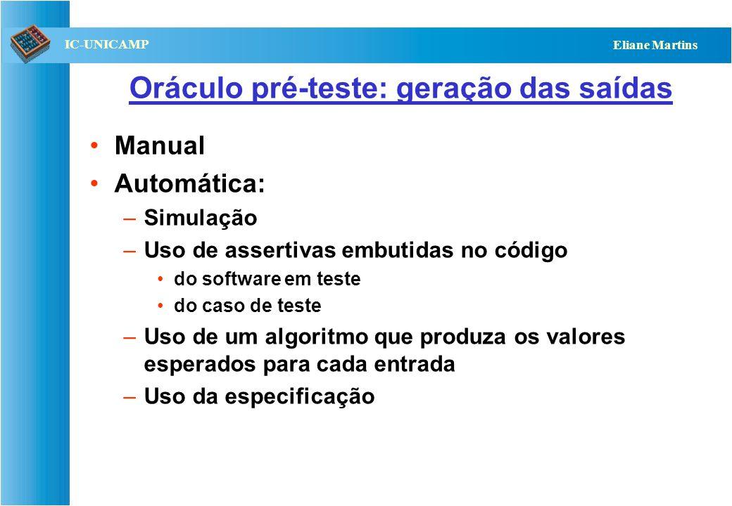 QST112 06/2001 IC-UNICAMP Eliane Martins Exemplo: JUnit import junit.framework.TestCase; import Calculadora; public class CalculadoraTest extends TestCase { private Calculadora calc_div; private Calculadora calc_mult; public TestCalc(String arg0) { super(arg0); protected void setup(){ calc_div = new Calculadora(); calc_mult = new Calculadora (); } public static void main(String[] args) { junit.textui.TestRunner.run(CalculadoraTest.class); public void testDivisao() { float resultado; resultado = calc_div.divisao(1.0/5.0); assertEquals(resultado, 0.2); } protected void teardown(){ calc_div = null; calc_mult = null; } Compara com resultado esperado Cria classe de teste Cria objetos em teste Executa classe de teste Termina o teste