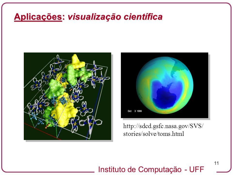 Instituto de Computação - UFF 11 Aplicações: visualização científica http://sdcd.gsfc.nasa.gov/SVS/ stories/solve/toms.html