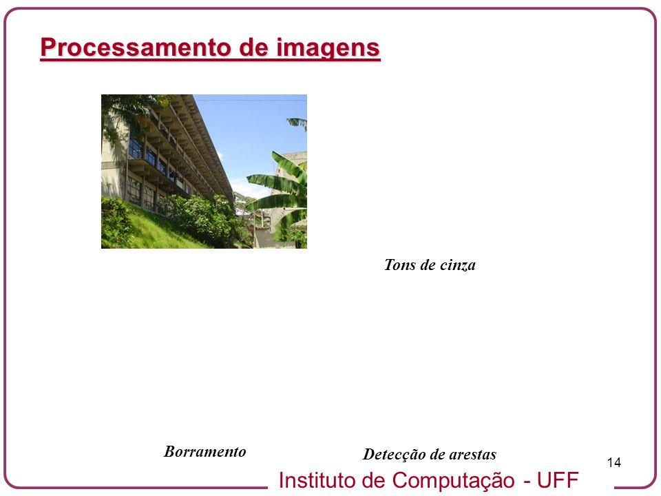 Instituto de Computação - UFF 14 Processamento de imagens Borramento Detecção de arestas Tons de cinza
