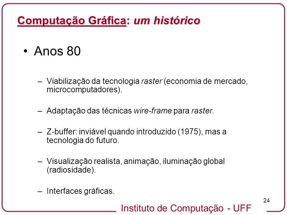 Instituto de Computação - UFF 24 Computação Gráfica: um histórico Anos 80 –Viabilização da tecnologia raster (economia de mercado, microcomputadores).