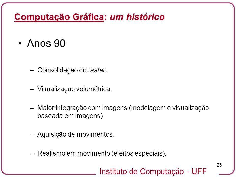 Instituto de Computação - UFF 25 Computação Gráfica: um histórico Anos 90 –Consolidação do raster. –Visualização volumétrica. –Maior integração com im