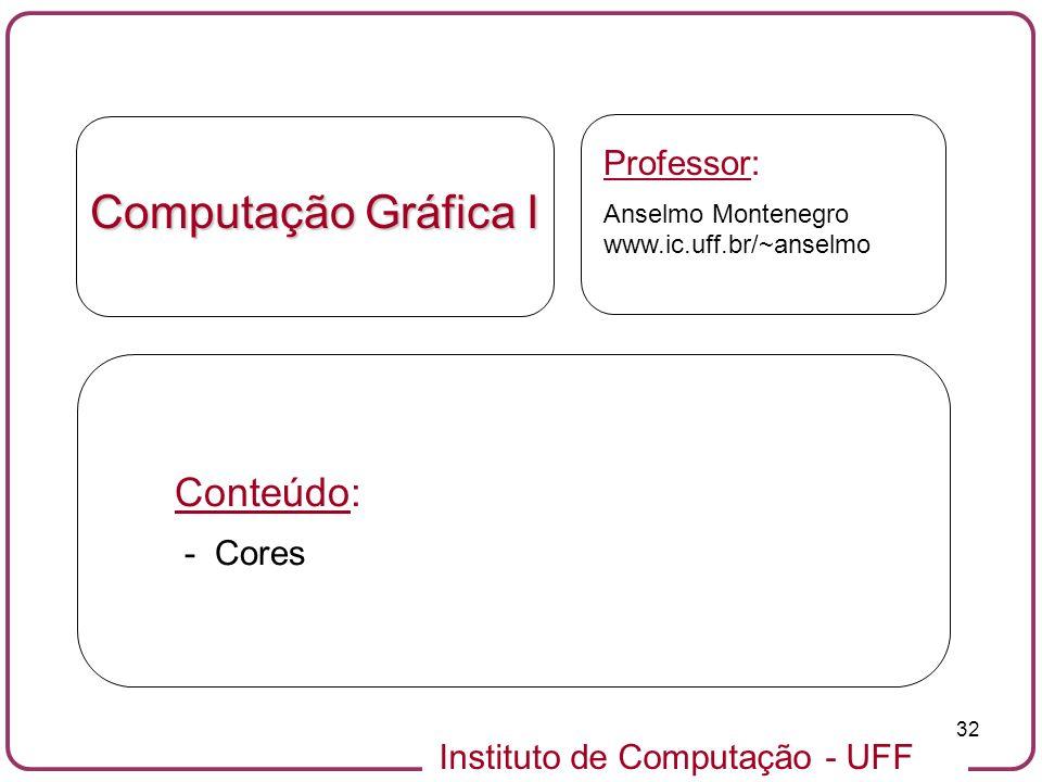 Instituto de Computação - UFF 32 Computação Gráfica I Professor: Anselmo Montenegro www.ic.uff.br/~anselmo Conteúdo: - Cores