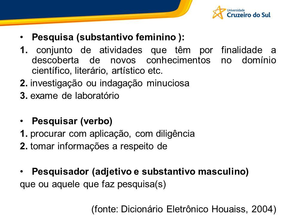 Pesquisa (substantivo feminino ): 1. conjunto de atividades que têm por finalidade a descoberta de novos conhecimentos no domínio científico, literári