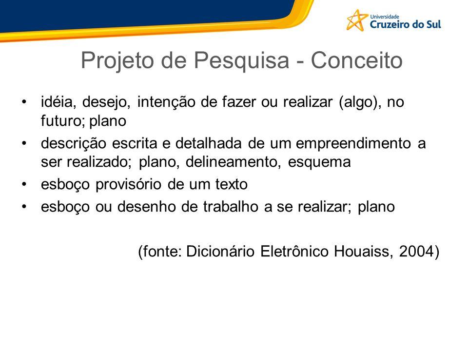 Projeto de Pesquisa - Conceito idéia, desejo, intenção de fazer ou realizar (algo), no futuro; plano descrição escrita e detalhada de um empreendiment