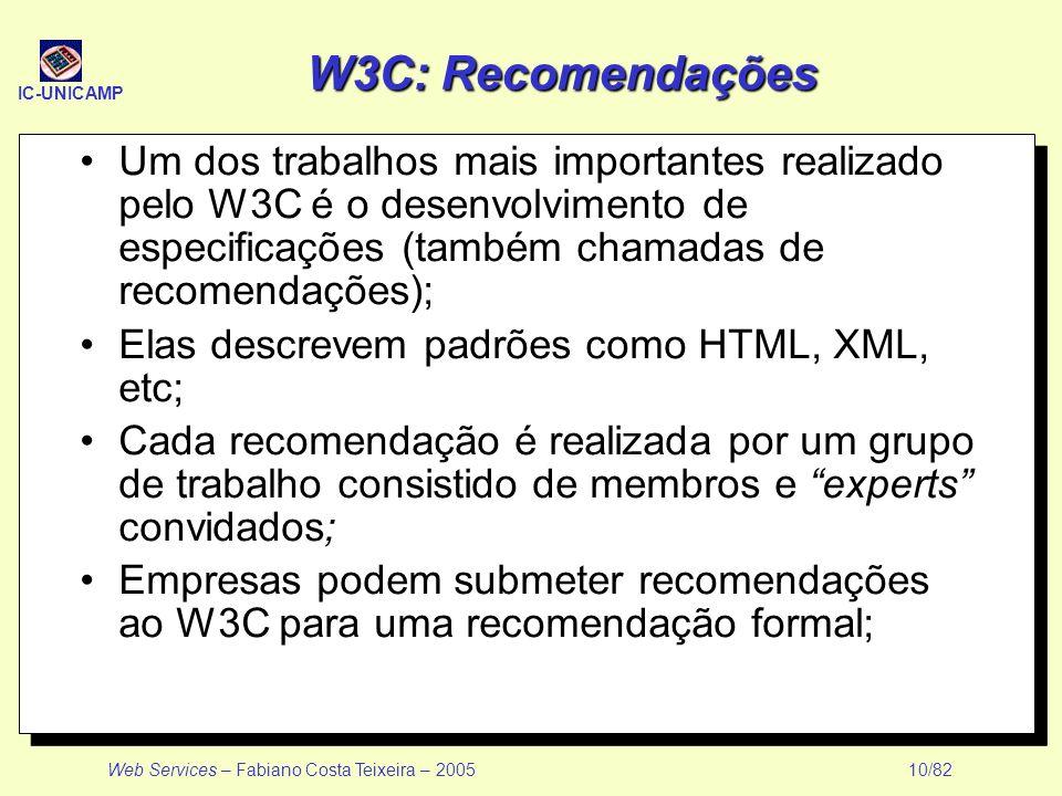IC-UNICAMP Web Services – Fabiano Costa Teixeira – 2005 10/82 W3C: Recomendações Um dos trabalhos mais importantes realizado pelo W3C é o desenvolvime