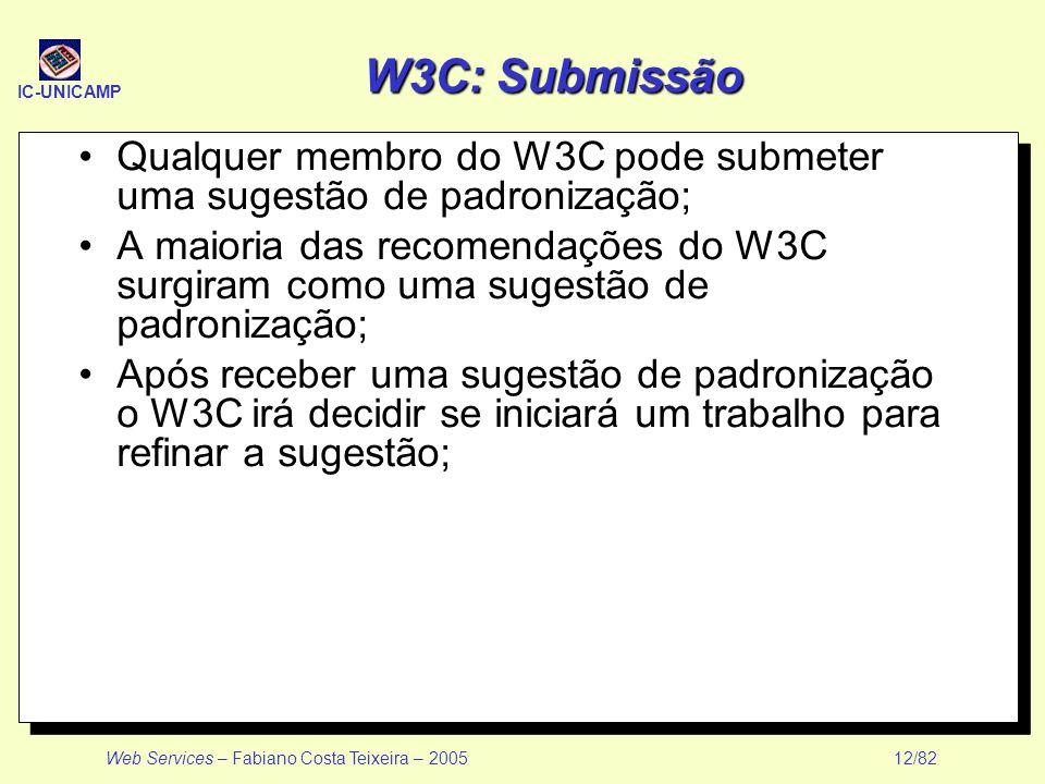 IC-UNICAMP Web Services – Fabiano Costa Teixeira – 2005 12/82 W3C: Submissão Qualquer membro do W3C pode submeter uma sugestão de padronização; A maio