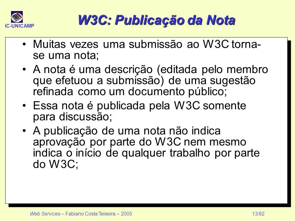 IC-UNICAMP Web Services – Fabiano Costa Teixeira – 2005 13/82 W3C: Publicação da Nota Muitas vezes uma submissão ao W3C torna- se uma nota; A nota é u