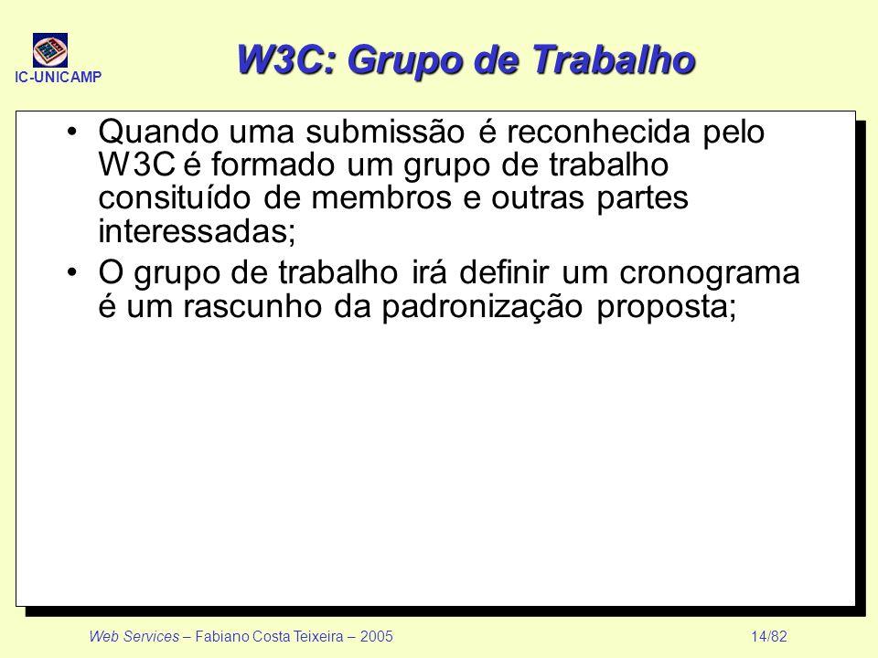 IC-UNICAMP Web Services – Fabiano Costa Teixeira – 2005 14/82 W3C: Grupo de Trabalho Quando uma submissão é reconhecida pelo W3C é formado um grupo de