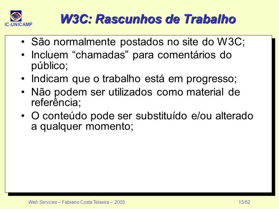 IC-UNICAMP Web Services – Fabiano Costa Teixeira – 2005 15/82 W3C: Rascunhos de Trabalho São normalmente postados no site do W3C; Incluem chamadas par