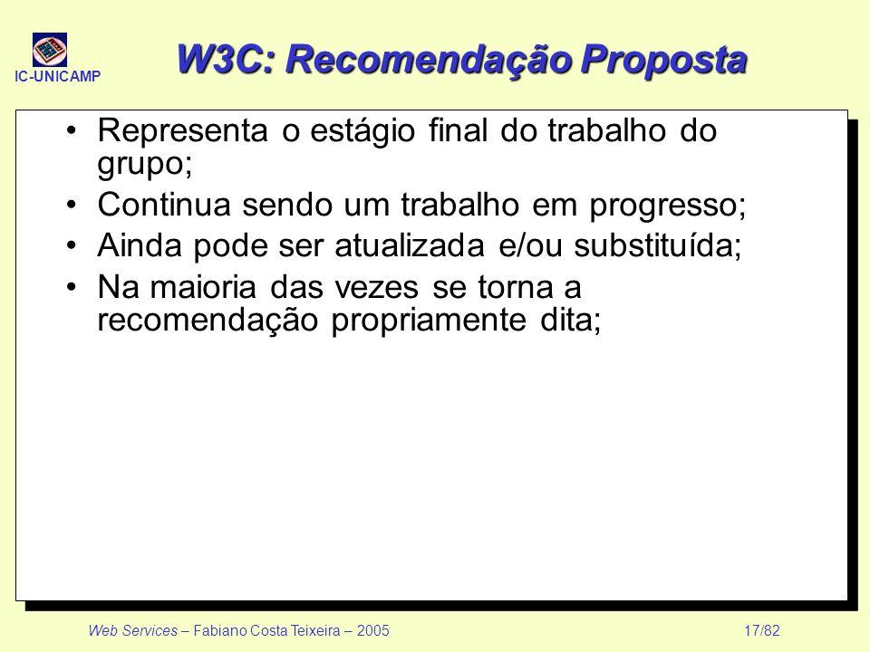IC-UNICAMP Web Services – Fabiano Costa Teixeira – 2005 17/82 W3C: Recomendação Proposta Representa o estágio final do trabalho do grupo; Continua sen
