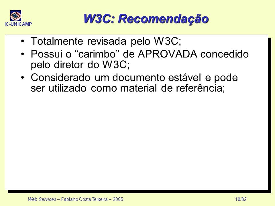 IC-UNICAMP Web Services – Fabiano Costa Teixeira – 2005 18/82 W3C: Recomendação Totalmente revisada pelo W3C; Possui o carimbo de APROVADA concedido p