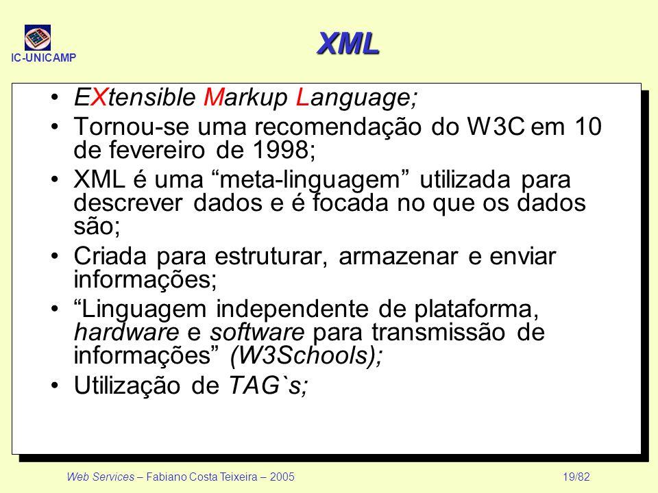 IC-UNICAMP Web Services – Fabiano Costa Teixeira – 2005 19/82 XML EXtensible Markup Language; Tornou-se uma recomendação do W3C em 10 de fevereiro de