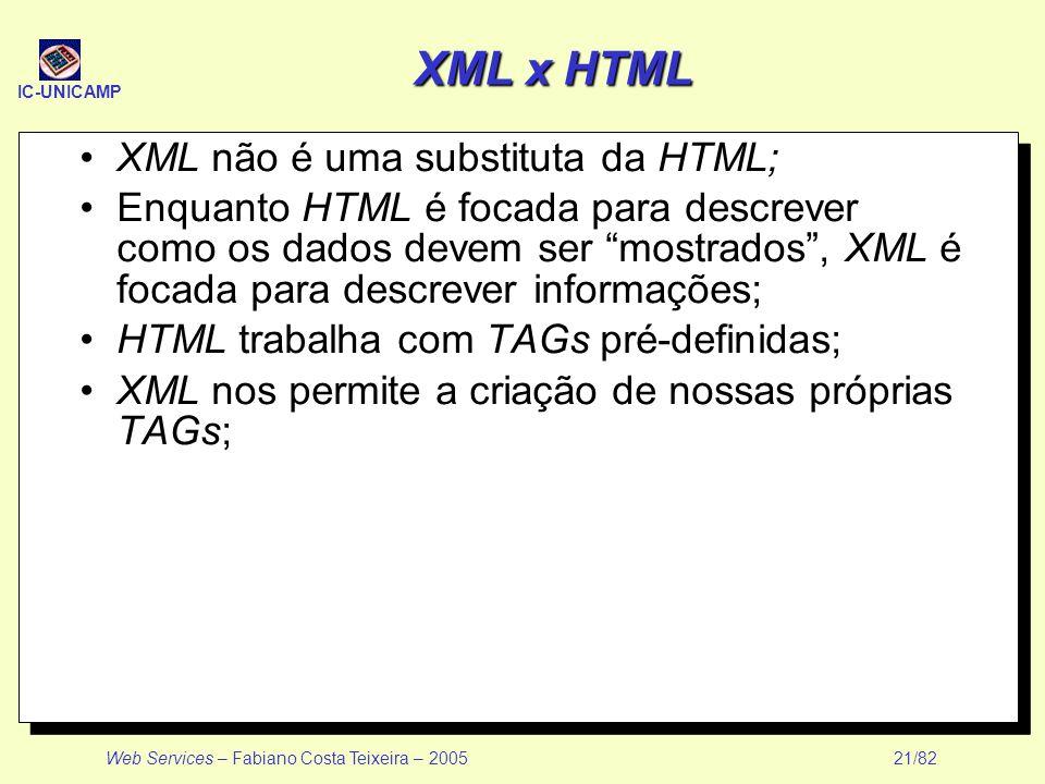 IC-UNICAMP Web Services – Fabiano Costa Teixeira – 2005 21/82 XML x HTML XML não é uma substituta da HTML; Enquanto HTML é focada para descrever como