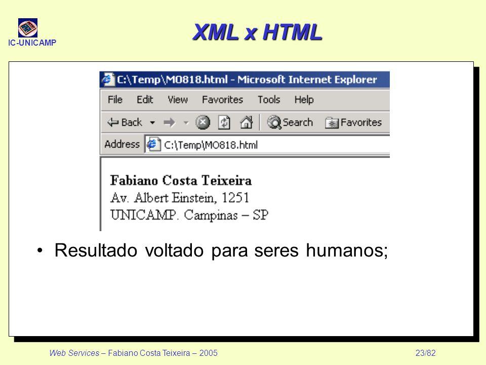 IC-UNICAMP Web Services – Fabiano Costa Teixeira – 2005 23/82 XML x HTML Resultado voltado para seres humanos;