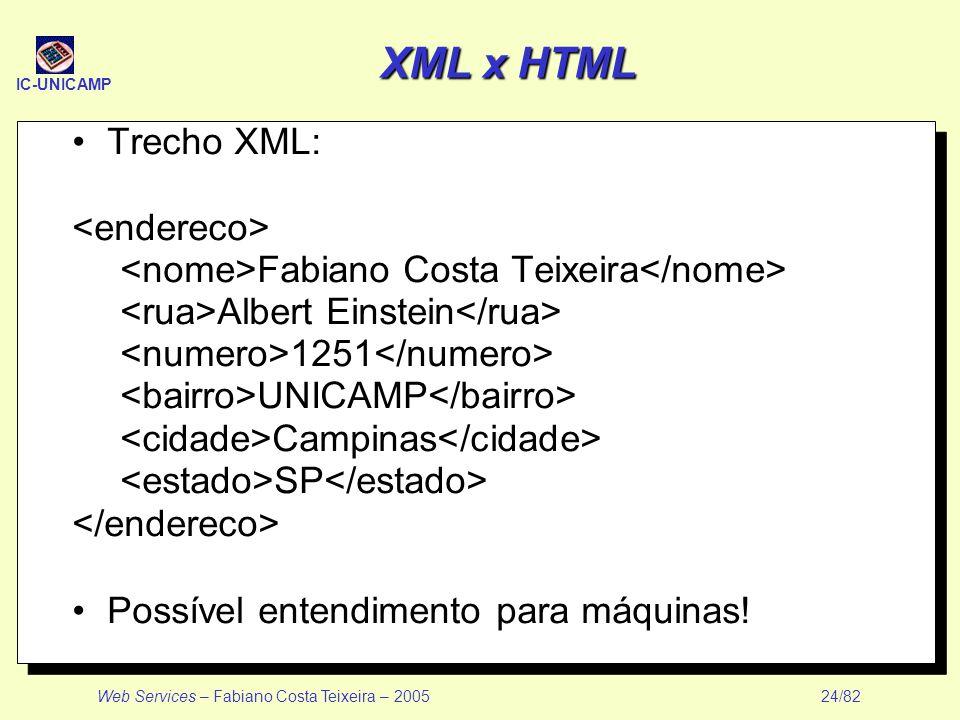 IC-UNICAMP Web Services – Fabiano Costa Teixeira – 2005 24/82 XML x HTML Trecho XML: Fabiano Costa Teixeira Albert Einstein 1251 UNICAMP Campinas SP P