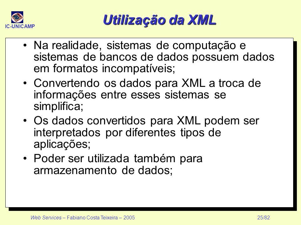 IC-UNICAMP Web Services – Fabiano Costa Teixeira – 2005 25/82 Utilização da XML Na realidade, sistemas de computação e sistemas de bancos de dados pos