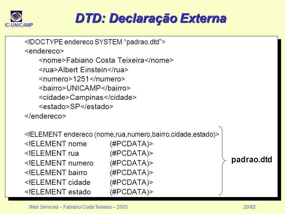 IC-UNICAMP Web Services – Fabiano Costa Teixeira – 2005 29/82 DTD: Declaração Externa Fabiano Costa Teixeira Albert Einstein 1251 UNICAMP Campinas SP