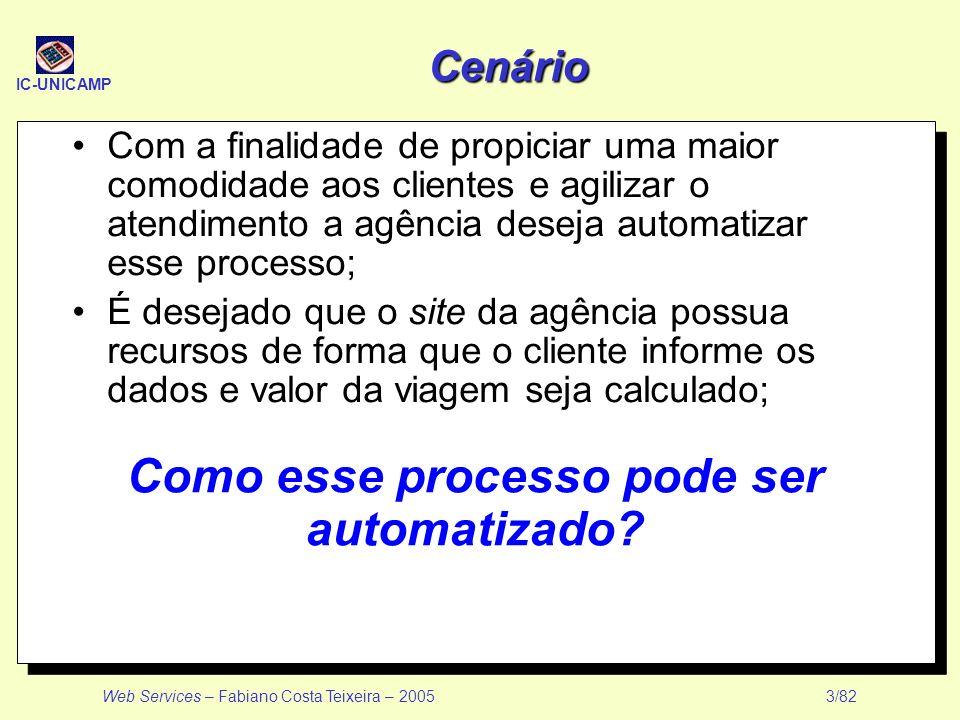 IC-UNICAMP Web Services – Fabiano Costa Teixeira – 2005 3/82 Cenário Com a finalidade de propiciar uma maior comodidade aos clientes e agilizar o aten