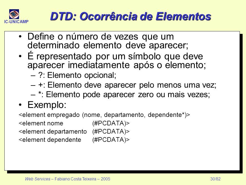 IC-UNICAMP Web Services – Fabiano Costa Teixeira – 2005 30/82 DTD: Ocorrência de Elementos Define o número de vezes que um determinado elemento deve a