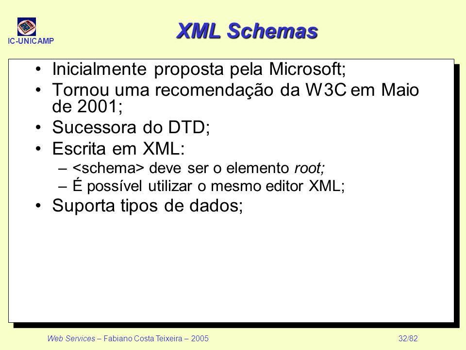 IC-UNICAMP Web Services – Fabiano Costa Teixeira – 2005 32/82 XML Schemas Inicialmente proposta pela Microsoft; Tornou uma recomendação da W3C em Maio