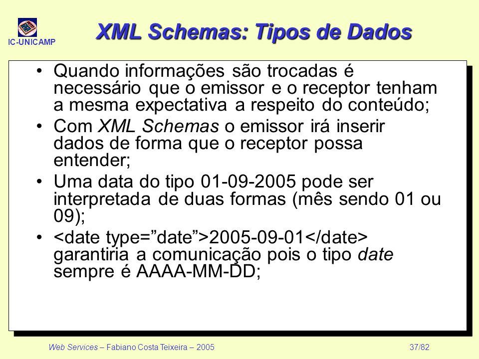 IC-UNICAMP Web Services – Fabiano Costa Teixeira – 2005 37/82 XML Schemas: Tipos de Dados Quando informações são trocadas é necessário que o emissor e