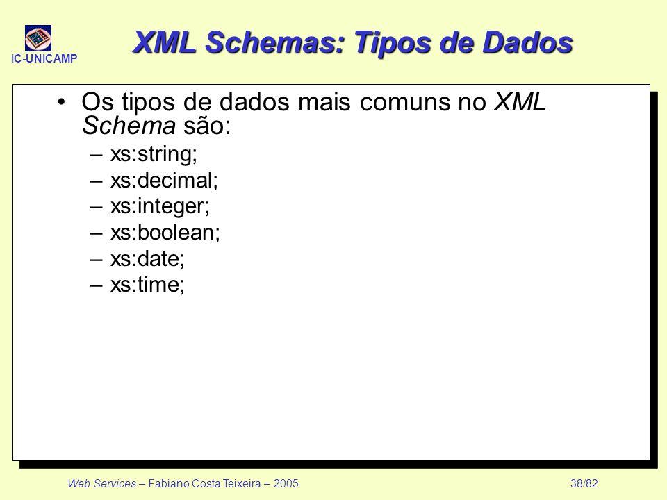 IC-UNICAMP Web Services – Fabiano Costa Teixeira – 2005 38/82 XML Schemas: Tipos de Dados Os tipos de dados mais comuns no XML Schema são: –xs:string;