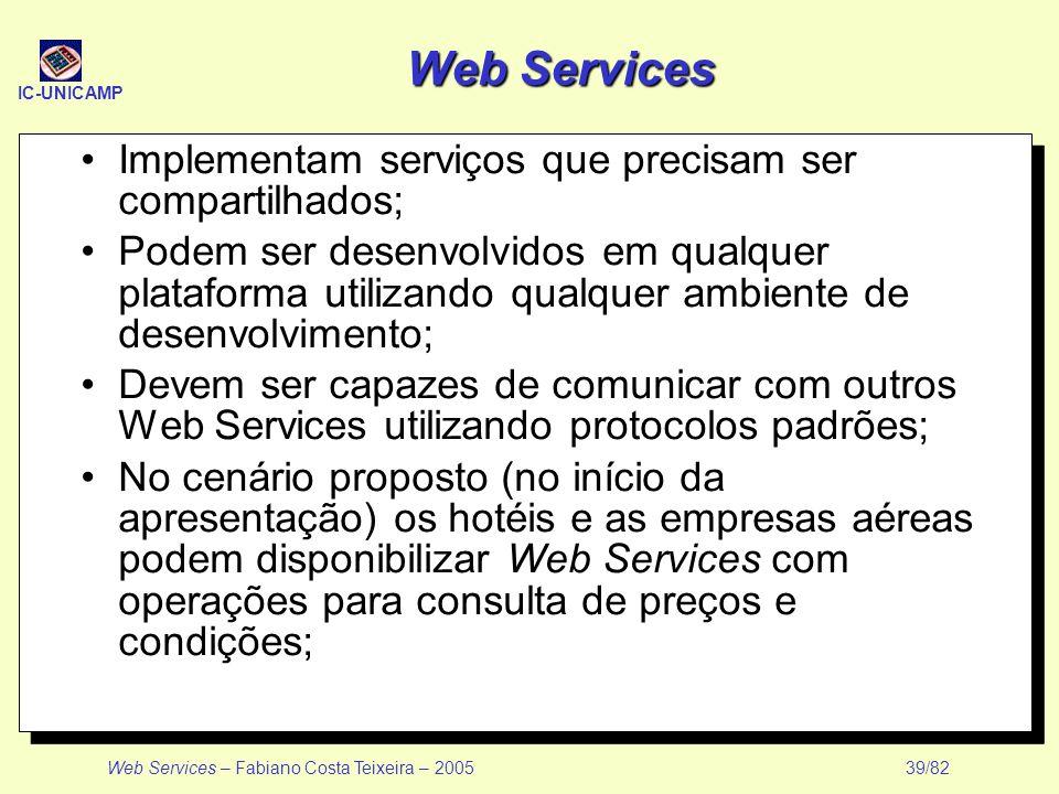IC-UNICAMP Web Services – Fabiano Costa Teixeira – 2005 39/82 Web Services Implementam serviços que precisam ser compartilhados; Podem ser desenvolvid