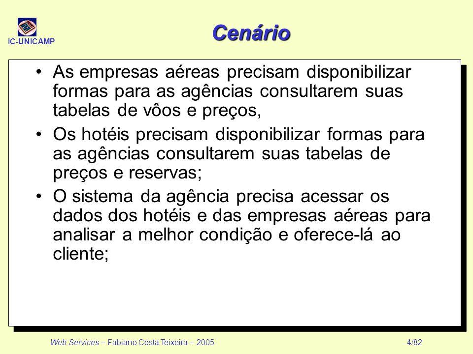 IC-UNICAMP Web Services – Fabiano Costa Teixeira – 2005 4/82 Cenário As empresas aéreas precisam disponibilizar formas para as agências consultarem su