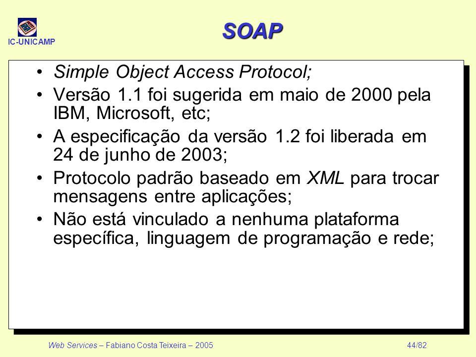 IC-UNICAMP Web Services – Fabiano Costa Teixeira – 2005 44/82 SOAP Simple Object Access Protocol; Versão 1.1 foi sugerida em maio de 2000 pela IBM, Mi