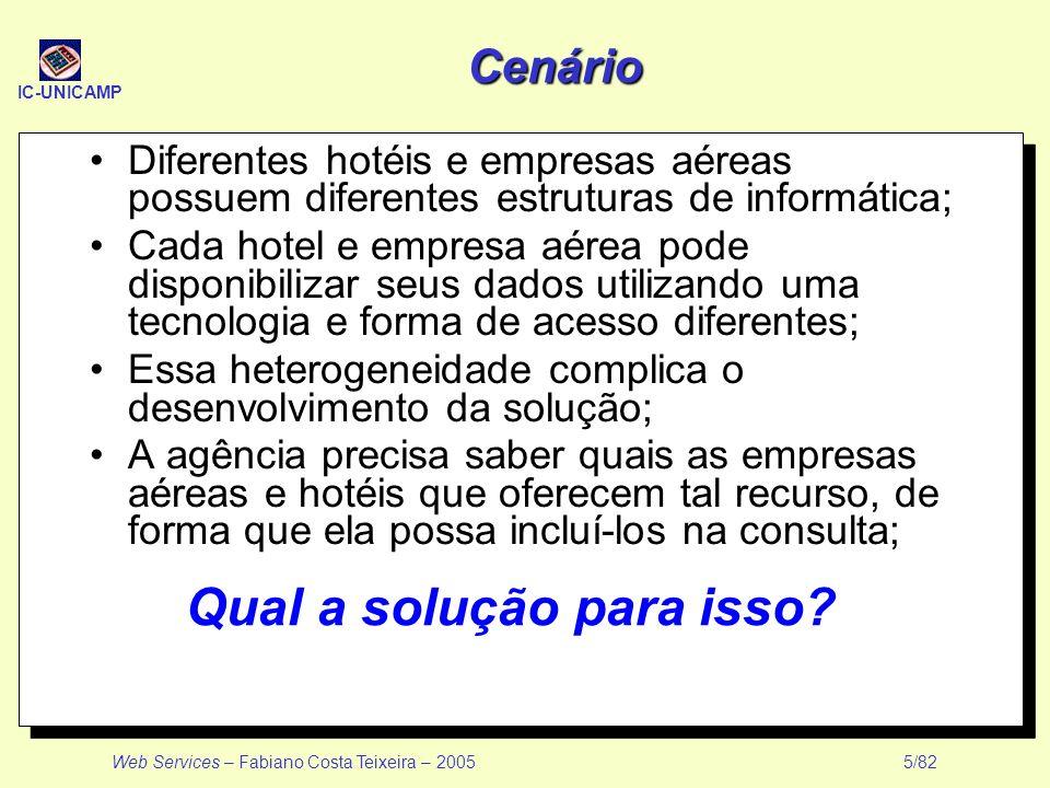 IC-UNICAMP Web Services – Fabiano Costa Teixeira – 2005 5/82 Cenário Diferentes hotéis e empresas aéreas possuem diferentes estruturas de informática;
