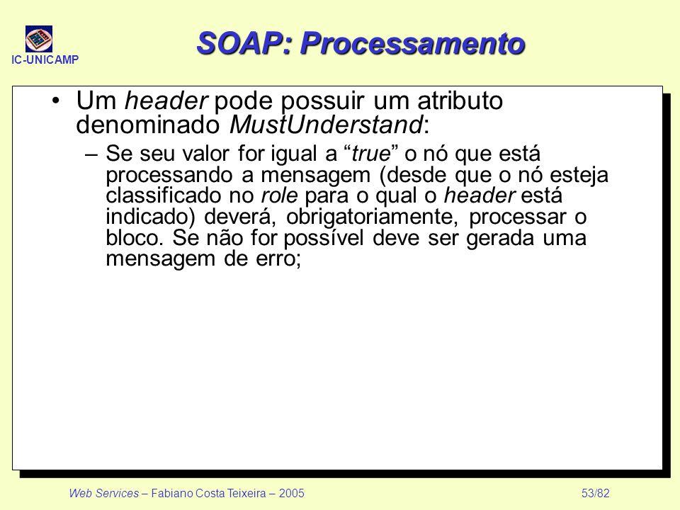 IC-UNICAMP Web Services – Fabiano Costa Teixeira – 2005 53/82 SOAP: Processamento Um header pode possuir um atributo denominado MustUnderstand: –Se se