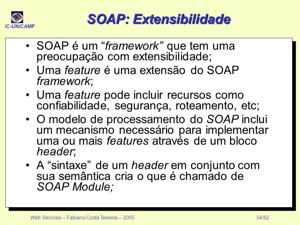 IC-UNICAMP Web Services – Fabiano Costa Teixeira – 2005 54/82 SOAP: Extensibilidade SOAP é um framework que tem uma preocupação com extensibilidade; U