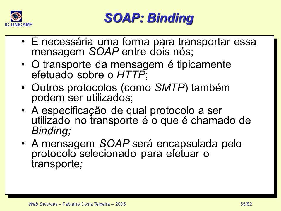 IC-UNICAMP Web Services – Fabiano Costa Teixeira – 2005 55/82 SOAP: Binding É necessária uma forma para transportar essa mensagem SOAP entre dois nós;