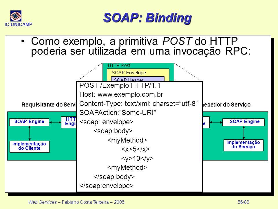IC-UNICAMP Web Services – Fabiano Costa Teixeira – 2005 56/82 SOAP: Binding Como exemplo, a primitiva POST do HTTP poderia ser utilizada em uma invoca