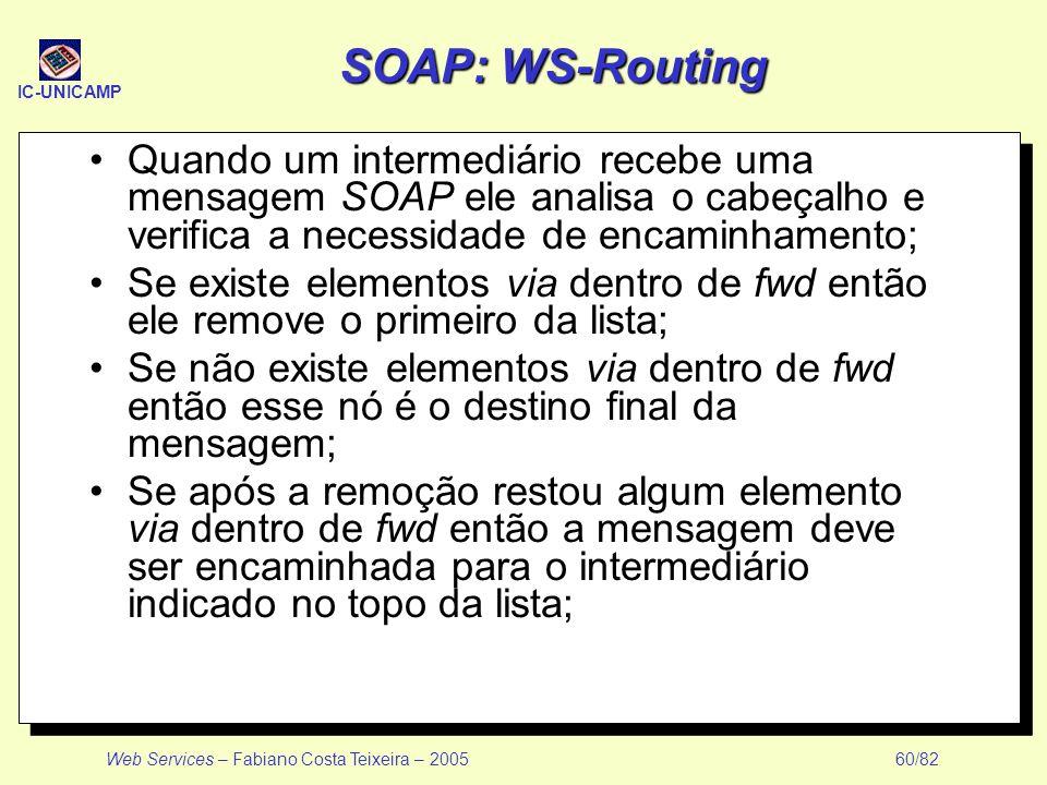 IC-UNICAMP Web Services – Fabiano Costa Teixeira – 2005 60/82 SOAP: WS-Routing Quando um intermediário recebe uma mensagem SOAP ele analisa o cabeçalh
