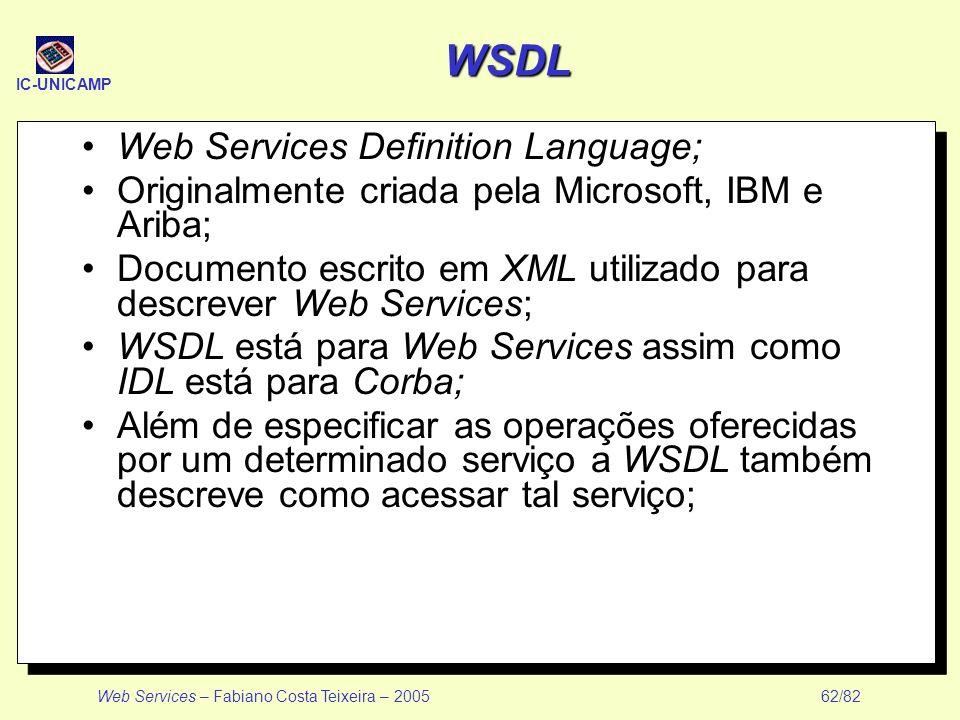 IC-UNICAMP Web Services – Fabiano Costa Teixeira – 2005 62/82 WSDL Web Services Definition Language; Originalmente criada pela Microsoft, IBM e Ariba;