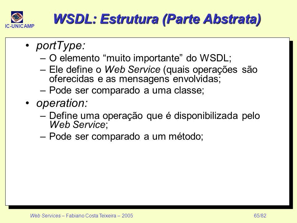 IC-UNICAMP Web Services – Fabiano Costa Teixeira – 2005 65/82 WSDL: Estrutura (Parte Abstrata) portType: –O elemento muito importante do WSDL; –Ele de