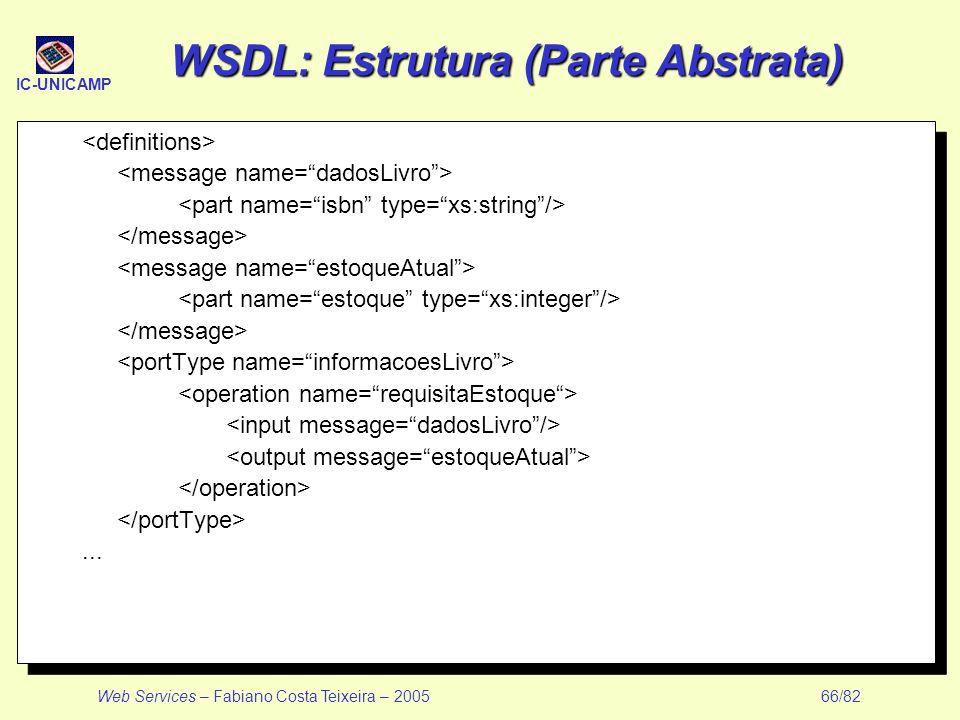 IC-UNICAMP Web Services – Fabiano Costa Teixeira – 2005 66/82 WSDL: Estrutura (Parte Abstrata)...