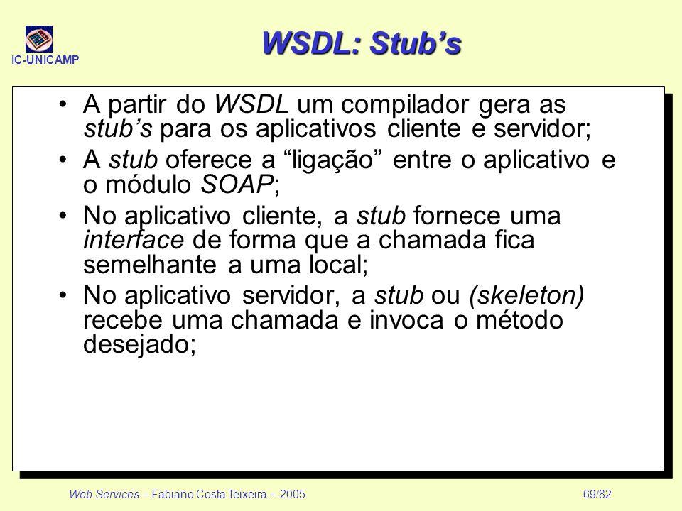 IC-UNICAMP Web Services – Fabiano Costa Teixeira – 2005 69/82 WSDL: Stubs A partir do WSDL um compilador gera as stubs para os aplicativos cliente e s